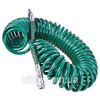 """Шланг спиральный для пневмоинструмента с переходниками """"Auto Tools"""" V-81215Р, размеры 8 х12 мм х 15 м, шланг для автоинструмента"""