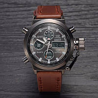 Часы AMST WATCH (Черные, коричневые, серебристый)