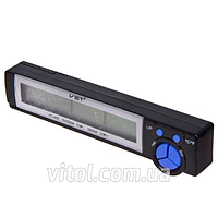 Термометр внутренний/ наружный/ часы/ вольтметр/ подсветка VST 7043V, Часы для авто, Часы автомобильные, Автомобильный термометр, Электронные часы