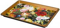 Поднос пластиковый прямоугольный с цветочками 325*230*25 мм (шт)
