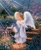 """Алмазная вышивка """"Ангелок поливает цветы"""""""
