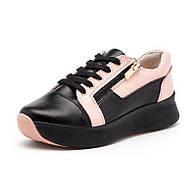 Кроссовки черного с розовым цвета женские из натуральной кожи с шнурками и молнией на платформе