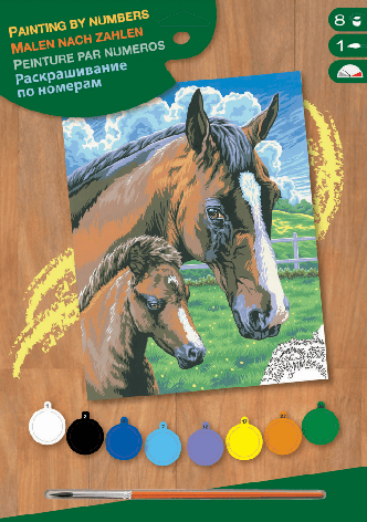 Набор для творчества Sequin Art PAINTING BY NUMBERS JUNIOR Horse and Foal SA0030                    , фото 2