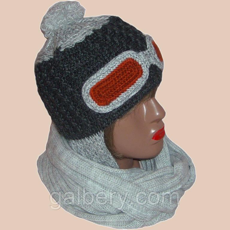 Женская вязаная шапка - ушанка и шарф цвета антрацит