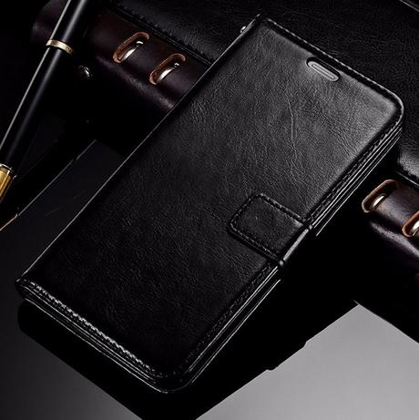 Кожаный чехол-книжка для Samsung Galaxy A7 A710 (2016) черный