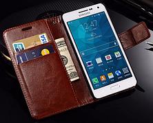 Кожаный чехол-книжка для Samsung Galaxy A7 A710 (2016) черный, фото 3