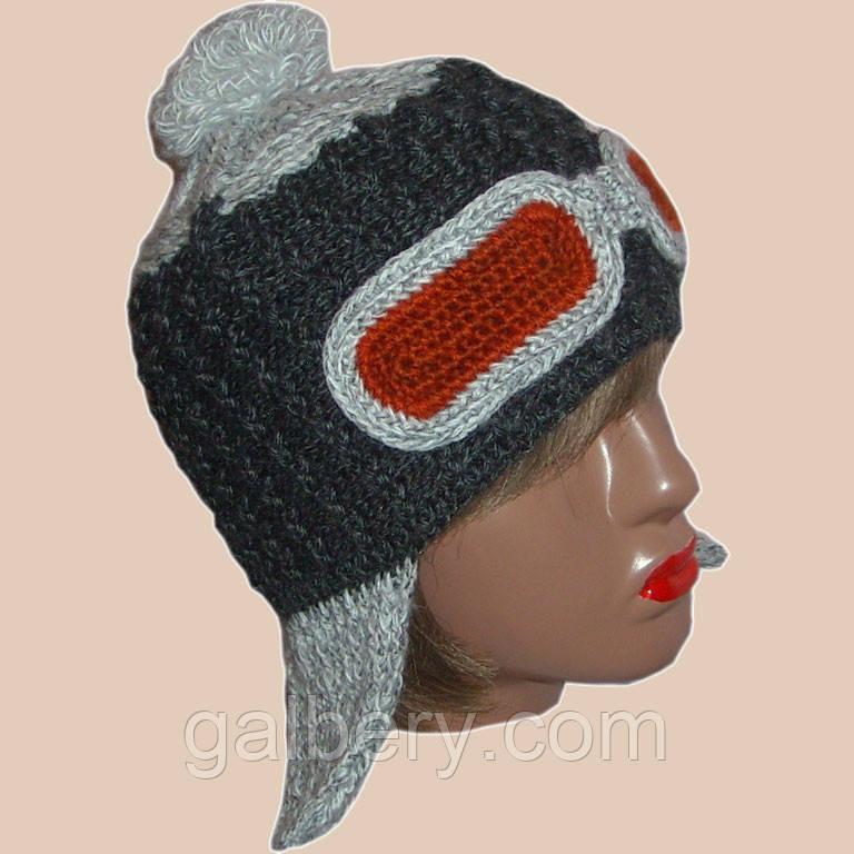 Женская вязаная шапка-ушанка на подкладке цвета антрацит