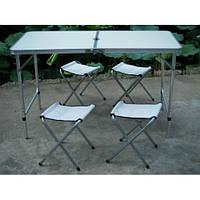 Раскладной стол + 4 стула Foldable Table (120x60 cm) Белый/ Набор для пикника