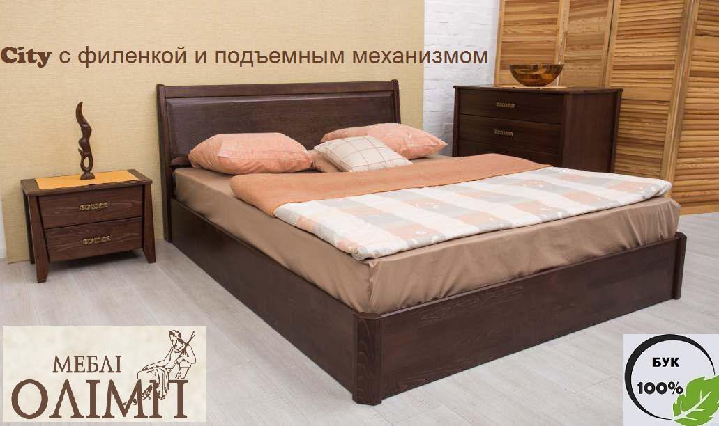Двуспальная кровать City с филенкой и подъемным механизмом