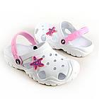 Детские легкие белые кроксы для девочек, р. 28-35, фото 3
