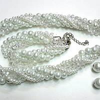 Набор бижутерии/Мин.заказ 2шт/Бусы+браслет+серьги.Белые.