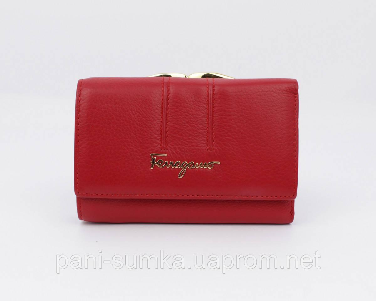 Кошелек 4382 кожаный красный компактный, расцветки