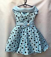 Детское нарядное платьекрупный горохдля девочки 6-7лет,Ретро голубоесбантиком
