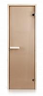 Стеклянная дверь для бани и сауны INTERCOM прозрачная бронза  липа