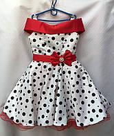 Детское нарядное платьекрупный горохдля девочки 6-7лет,Ретро белоес красным бантиком