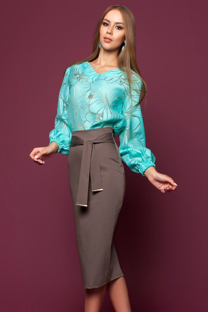 39acff4ac67 Богатая Блуза с Пышными Рукавами Лен на Органзе Бирюзовая S-XL - Ukraine In  Trend