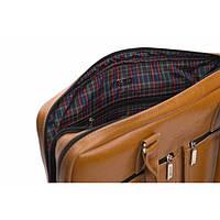 Кожаная сумка на плечо для ноутбука светло коричневая Solier SL01
