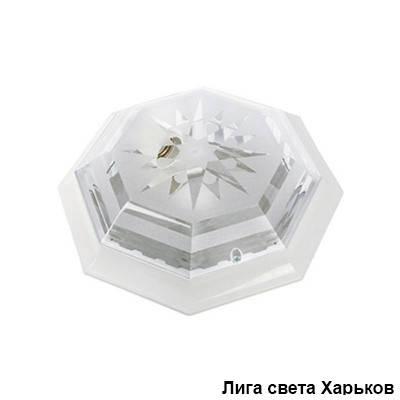 Светильник ЖКХ круг пластиковый восьмигранник Dizayn на две лампы, фото 2