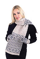 Комплект вязаный шарф + варежки