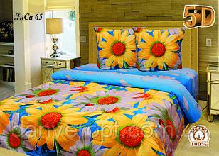 Постільна білизна двоспальне 5D принт Ромашка ,розмір 175*215, купити оптом зі складу 7км Одеса
