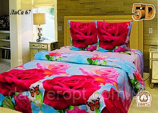Постільна білизна двоспальне 5D принт ROSE ,розмір 175*215, купити оптом зі складу 7км Одеса