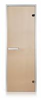 Стеклянная дверь для хамама INTERCOM прозрачная бронза  алюминий