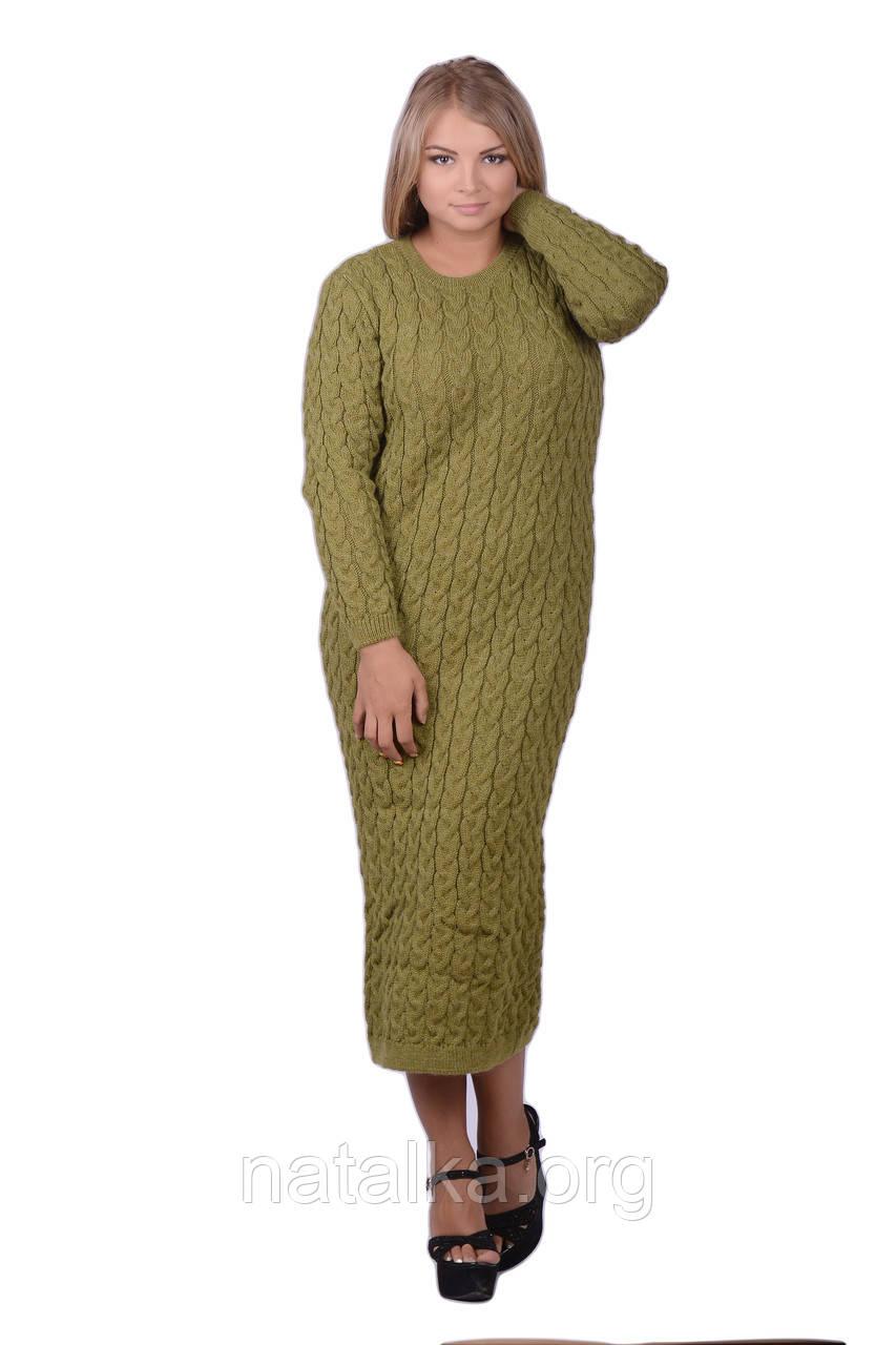 Теплое вязаное платье длинное
