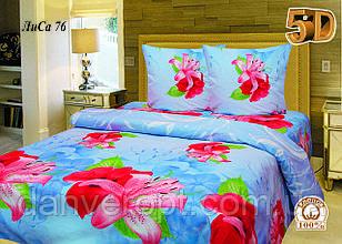 Постільна білизна двоспальне 5D принт Лілія ,розмір 175*215, купити оптом зі складу 7км Одеса