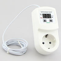Терморегулятор бытовой цифровой розеточный (-40°...+110°, реле 16А) РТУ-16/П-NTC, фото 1