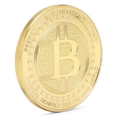 Монета сувенирная Биткоин позолота