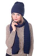 Комплект женский вязаный шапка и шарф