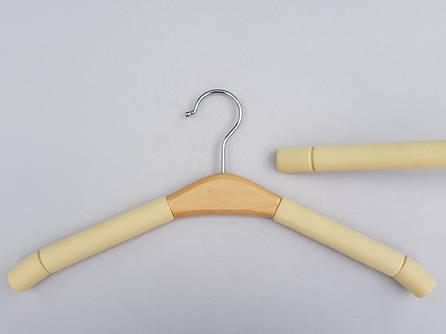 Плечики поролоновые кремового цвета с  вставкой из светлого дерева, 40  см