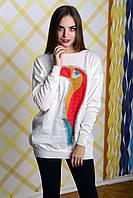 Джемпер женский с рисунком Попугай