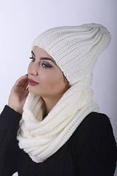 Комплект женский шапка 0028H и Хомут 0029 H молочный