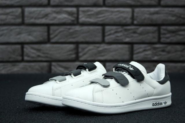 Adidas Stan Smith White Grey Black Velcro