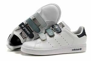 Кроссовки Adidas Stan Smith White Grey Black Velcro