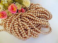 Жемчуг дорогой искусственный, 6 мм, цвет золотистый, 50 шт.