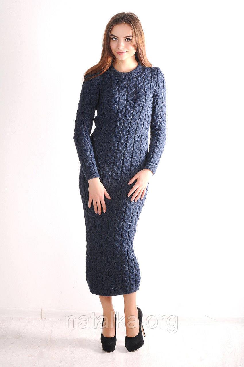 теплое вязаное платье длинное M джинс в категории платья женские