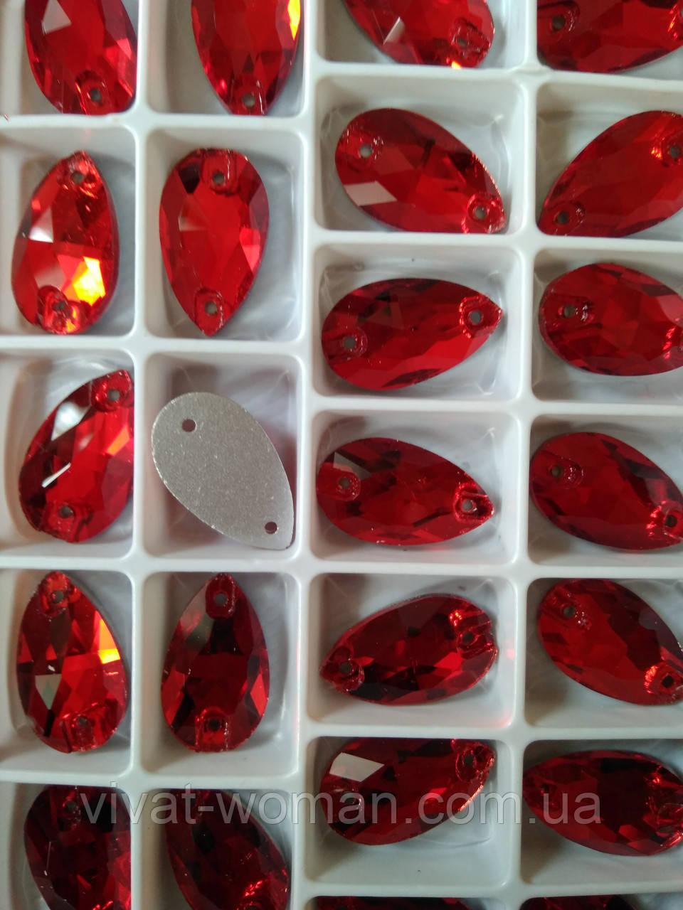 Стразы пришивные Капля 11х18 мм Siam (Красный), стекло