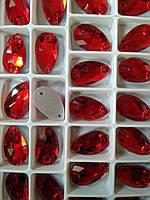 Стразы пришивные Капля 11х18 мм Siam (Красный), стекло, фото 1