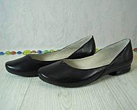 Балетки женские кожаные, цвет черный