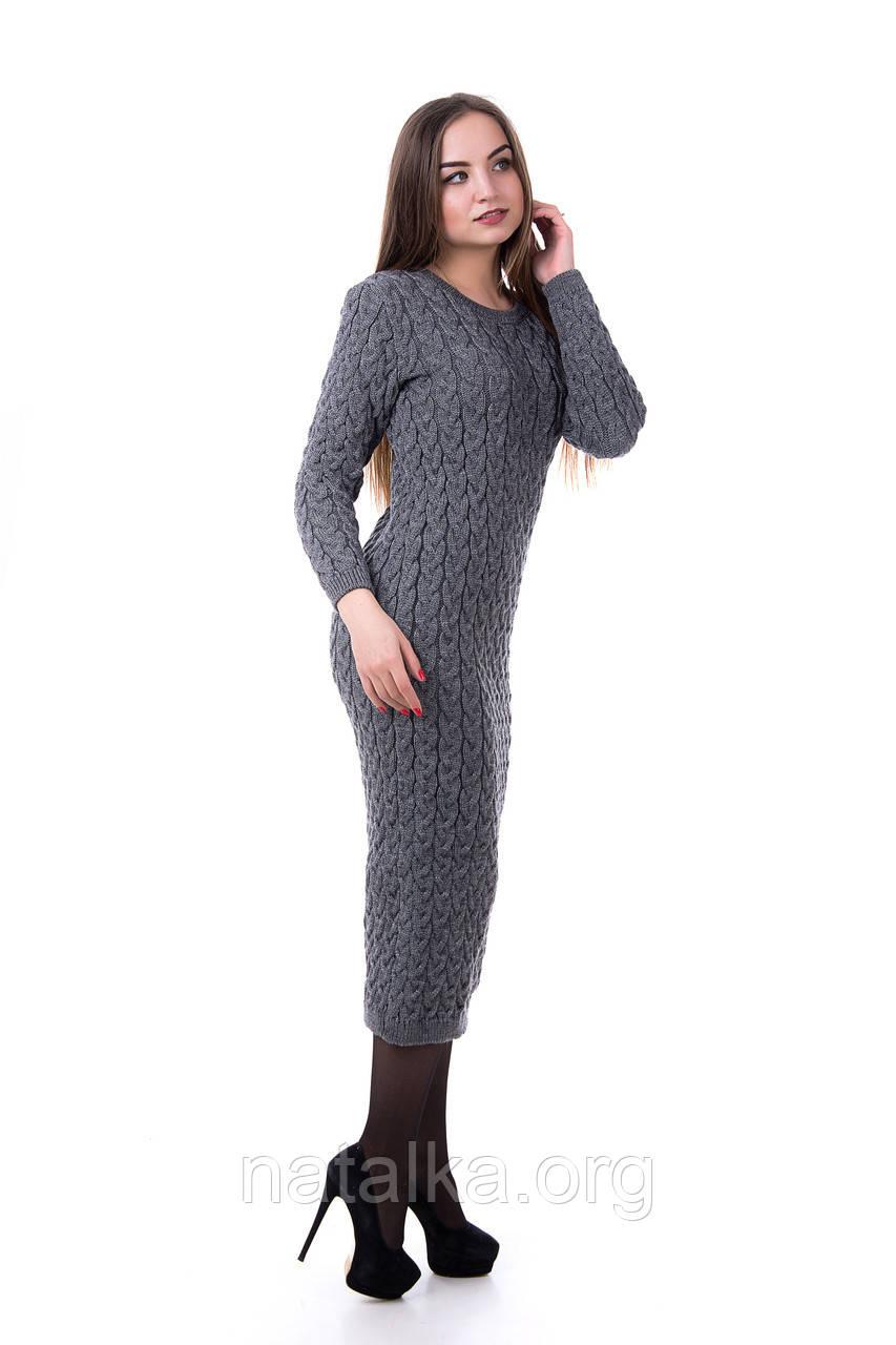 теплое вязаное платье длинное L темно серый в категории платья