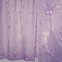 Тюль гардины Органза фиолетовая с