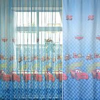Лен льняная ткань (льняная ткань) гардинный Тачки Молния Маккуин, ш.275