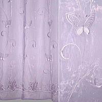 Тюль гардины Органза бледно фиолетовая