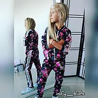 Детский костюм с цветочным принтом в стиле adidas