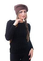 Берет женский вязаный Наталка 0043Н коричневый