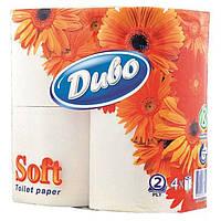 Туалетная бумага Диво Soft целлюлоза на гильзе, 4 рулона, 2-х слойная, белая тп.дв4б
