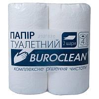 Туалетная бумага Buroclean целлюлоза на гильзе, 4 рулона, 2-х слойная, белая 10100011