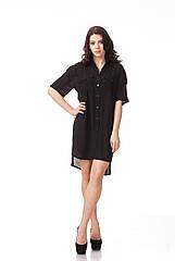 Черное женское платье пубашка. П112
